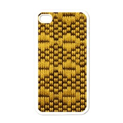 Golden Pattern Fabric Apple Iphone 4 Case (white)