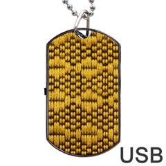 Golden Pattern Fabric Dog Tag Usb Flash (one Side)
