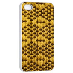 Golden Pattern Fabric Apple iPhone 4/4s Seamless Case (White)