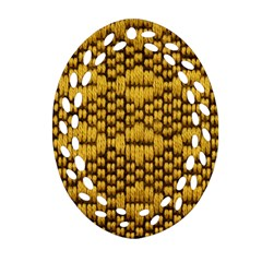 Golden Pattern Fabric Oval Filigree Ornament (Two Sides)