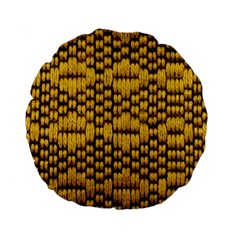 Golden Pattern Fabric Standard 15  Premium Round Cushions