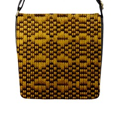 Golden Pattern Fabric Flap Messenger Bag (l)