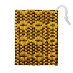 Golden Pattern Fabric Drawstring Pouches (Extra Large)