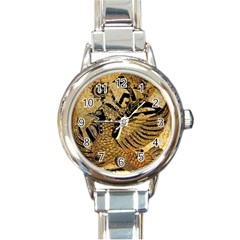 Golden Colorful The Beautiful Of Art Indonesian Batik Pattern Round Italian Charm Watch