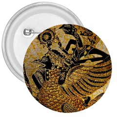 Golden Colorful The Beautiful Of Art Indonesian Batik Pattern 3  Buttons