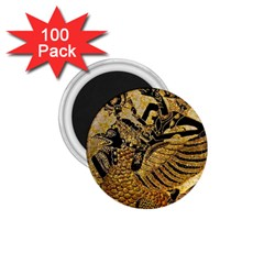 Golden Colorful The Beautiful Of Art Indonesian Batik Pattern 1.75  Magnets (100 pack)