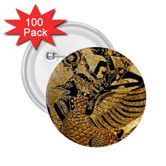 Golden Colorful The Beautiful Of Art Indonesian Batik Pattern 2.25  Buttons (100 pack)
