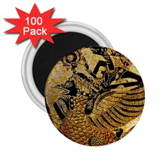 Golden Colorful The Beautiful Of Art Indonesian Batik Pattern 2.25  Magnets (100 pack)