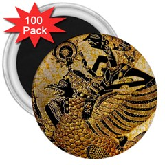 Golden Colorful The Beautiful Of Art Indonesian Batik Pattern 3  Magnets (100 Pack)