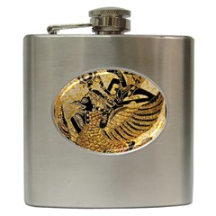 Golden Colorful The Beautiful Of Art Indonesian Batik Pattern Hip Flask (6 oz)