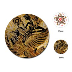 Golden Colorful The Beautiful Of Art Indonesian Batik Pattern Playing Cards (Round)