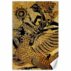 Golden Colorful The Beautiful Of Art Indonesian Batik Pattern Canvas 24  x 36