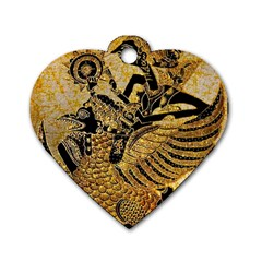 Golden Colorful The Beautiful Of Art Indonesian Batik Pattern Dog Tag Heart (one Side)