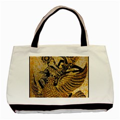 Golden Colorful The Beautiful Of Art Indonesian Batik Pattern Basic Tote Bag (Two Sides)