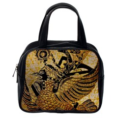 Golden Colorful The Beautiful Of Art Indonesian Batik Pattern Classic Handbags (one Side)