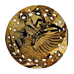Golden Colorful The Beautiful Of Art Indonesian Batik Pattern Round Filigree Ornament (Two Sides)