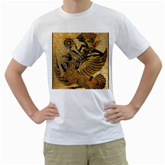 Golden Colorful The Beautiful Of Art Indonesian Batik Pattern Men s T Shirt (white)