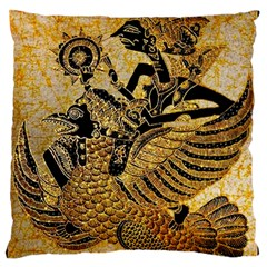 Golden Colorful The Beautiful Of Art Indonesian Batik Pattern Large Flano Cushion Case (one Side)