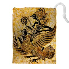 Golden Colorful The Beautiful Of Art Indonesian Batik Pattern Drawstring Pouches (XXL)