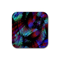 Native Blanket Abstract Digital Art Rubber Coaster (square)