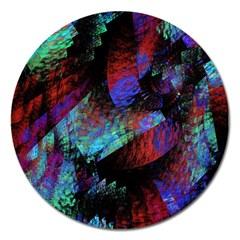 Native Blanket Abstract Digital Art Magnet 5  (Round)