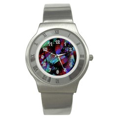Native Blanket Abstract Digital Art Stainless Steel Watch