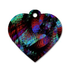 Native Blanket Abstract Digital Art Dog Tag Heart (one Side)