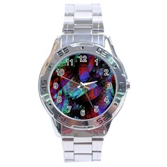 Native Blanket Abstract Digital Art Stainless Steel Analogue Watch