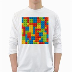 Lego Bricks Pattern White Long Sleeve T-Shirts