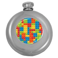 Lego Bricks Pattern Round Hip Flask (5 oz)