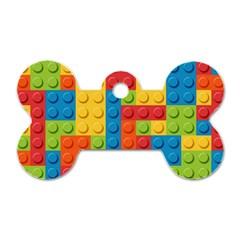 Lego Bricks Pattern Dog Tag Bone (Two Sides)