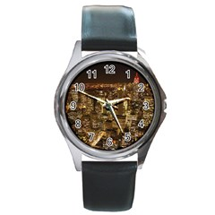 New York City At Night Future City Night Round Metal Watch