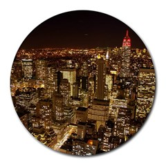 New York City At Night Future City Night Round Mousepads