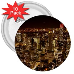 New York City At Night Future City Night 3  Buttons (10 pack)
