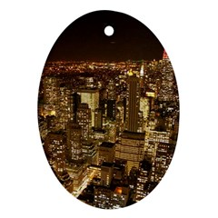 New York City At Night Future City Night Oval Ornament (Two Sides)