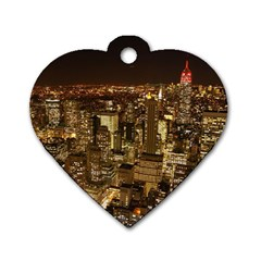 New York City At Night Future City Night Dog Tag Heart (two Sides)