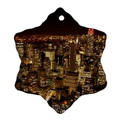 New York City At Night Future City Night Snowflake Ornament (two Sides)