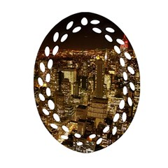 New York City At Night Future City Night Ornament (Oval Filigree)