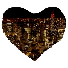 New York City At Night Future City Night Large 19  Premium Heart Shape Cushions