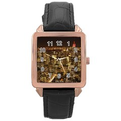 New York City At Night Future City Night Rose Gold Leather Watch