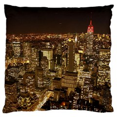 New York City At Night Future City Night Large Flano Cushion Case (two Sides)