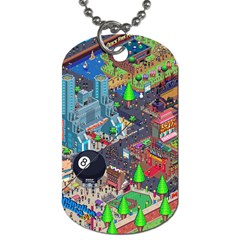 Pixel Art City Dog Tag (One Side)