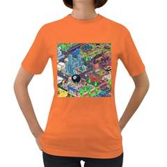 Pixel Art City Women s Dark T-Shirt