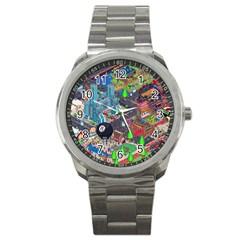 Pixel Art City Sport Metal Watch