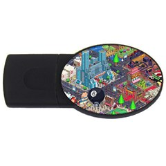Pixel Art City USB Flash Drive Oval (4 GB)