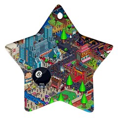 Pixel Art City Star Ornament (Two Sides)