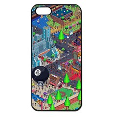 Pixel Art City Apple iPhone 5 Seamless Case (Black)