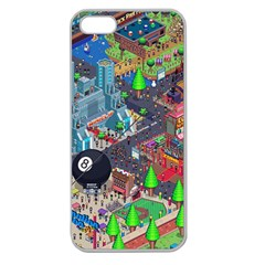 Pixel Art City Apple Seamless iPhone 5 Case (Clear)