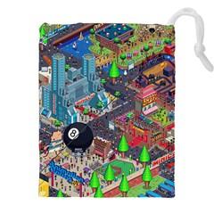 Pixel Art City Drawstring Pouches (XXL)