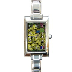 Technology Circuit Board Rectangle Italian Charm Watch